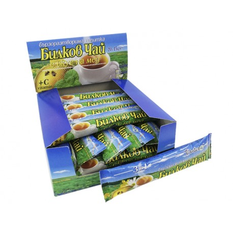 Бързоразтворим билков чай с вкус на мед, кутия, 20 пакетчета