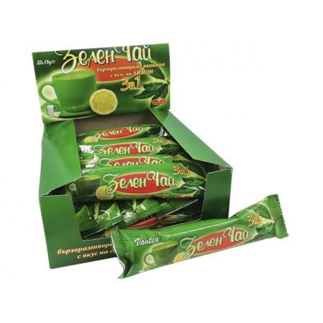 Бързоразтворим зелен чай с вкус на лимон, кутия, 20 пакетчета