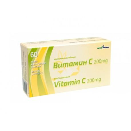 Витамин С, 200 mg, ФитоФарма, 60 капсули