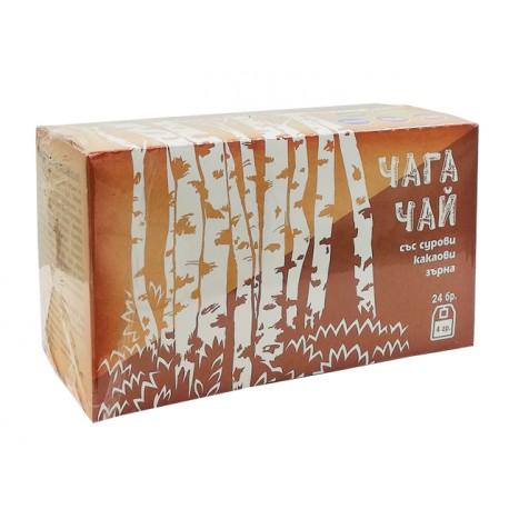 Чага Чай със сурови какаови зърна,24 филтърни пакетчета