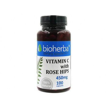 Витамин С с шипка, Биохерба, 100 капсули