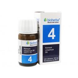 Mineral salt №4, Kalium Chloratum D6, Bioherba, 230 tablets