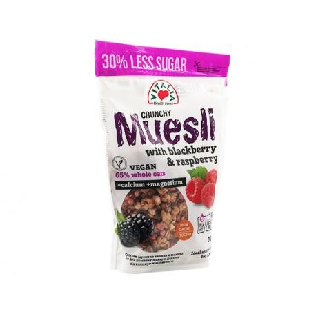 Крънчи Мюсли с къпини, малини и кафява захар, Виталия, 375 гр.