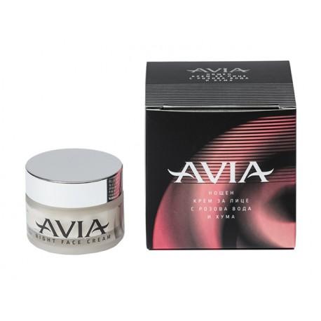 Нощен крем за лице с розова вода и хума, Avia, 40 мл.