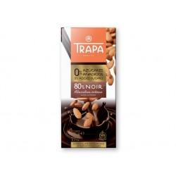 Тъмен шоколад 80% с бадем и подсладител, Трапа, 175 гр.