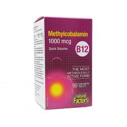 Витамин В12 - Метилкобаламин, Натурал Факторс, 90 таблетки