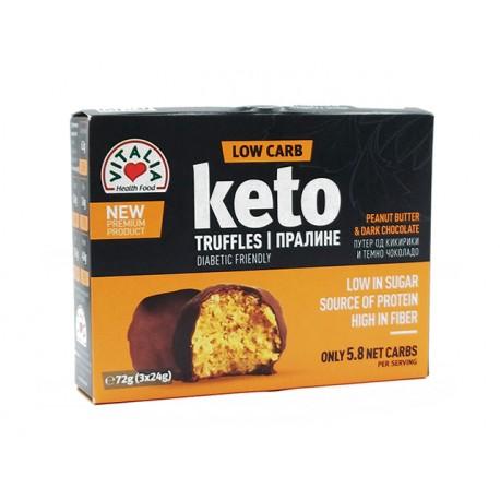 KETO truffles with peanut butter and dark chocolate, Vitalia, 72 g