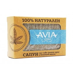 Natural soap with gray-green clay and hemp oil, Avia, 100 g