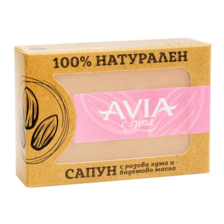 Natural soap with rose clay and almond oil, Avia, 110 g